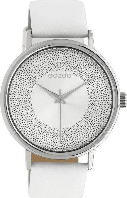 OOZOO C10575 42MM Timepieces White Leather Strap - Κοσμηματοπωλείο Goldy