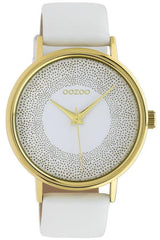 OOZOO C10576 42MM Timepieces White Leather Strap - Goldy Jewelry