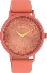 OOZOO C10580 42MM Timepieces Peach Leather Strap - Κοσμηματοπωλείο Goldy
