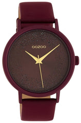 OOZOO C10584 42MM Timepieces Dark Red Leather Strap - Jewelry Goldy
