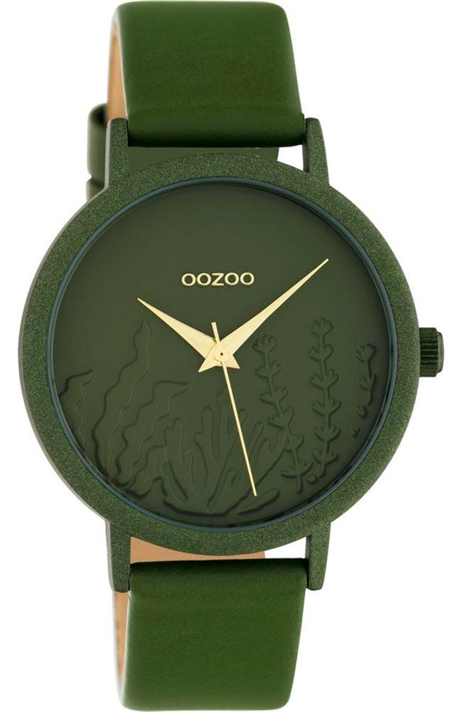 OOZOO C10608 36MM Timepieces Green Leather Strap - Goldy Jewelry