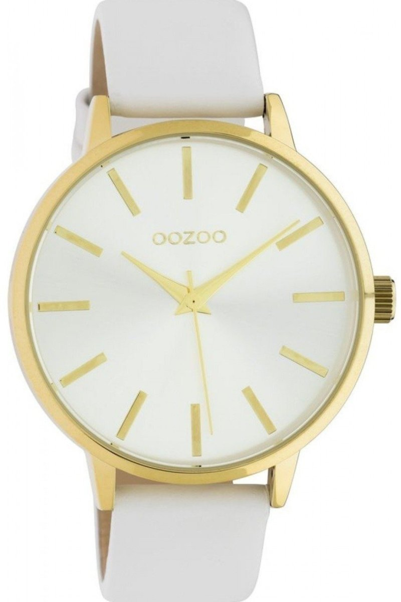 OOZOO C10611 42MM Timepieces White Leather Strap - Κοσμηματοπωλείο Goldy