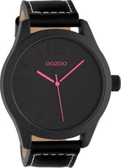 OOZOO C1068 46MM Timepieces Black Leather Strap - Κοσμηματοπωλείο Goldy