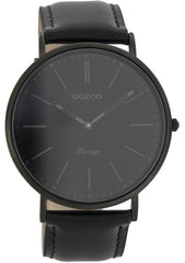 OOZOO C7301 44MM Timepieces Vintage Black Leather Strap - Κοσμηματοπωλείο Goldy