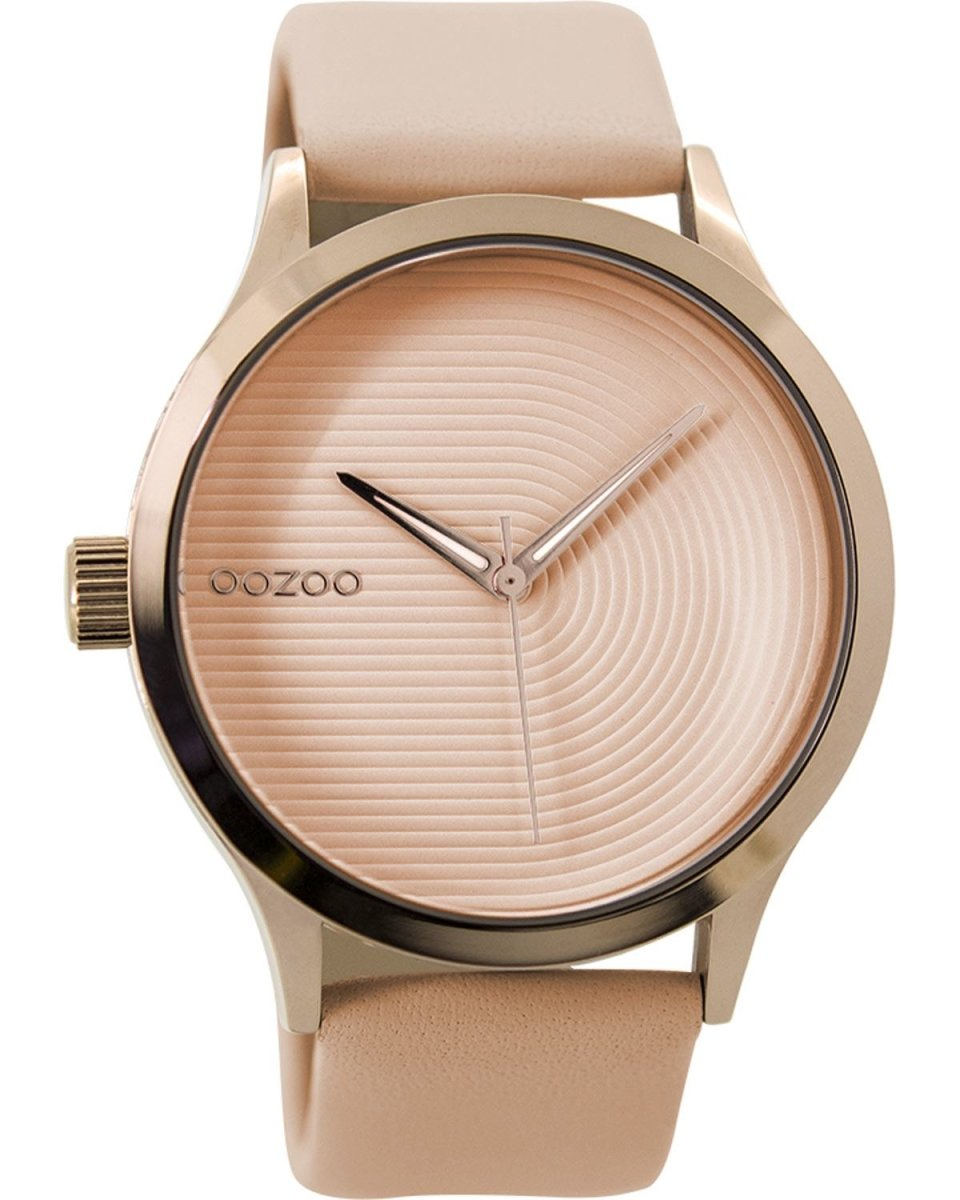 OOZOO C9431 44MM Rose Gold Beige Leather Strap - Κοσμηματοπωλείο Goldy