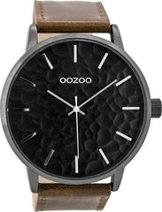 OOZOO C9443 48MM Timepieces Brown Leather Strap - Κοσμηματοπωλείο Goldy