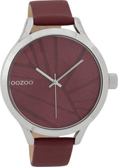 OOZOO C9682 43MM Timepieces Bordeaux Leather Strap - Κοσμηματοπωλείο Goldy