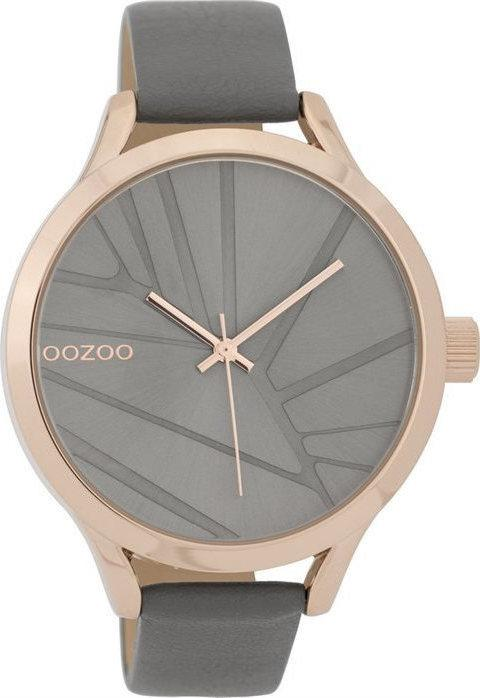 OOZOO C9683 43MM Timepieces Grey Leather Strap - Κοσμηματοπωλείο Goldy