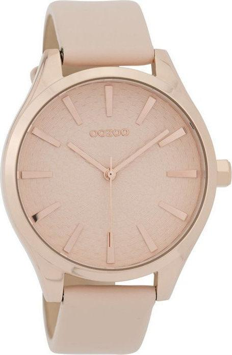 OOZOO C9686 43MM Timepieces Beige Leather Strap - Κοσμηματοπωλείο Goldy