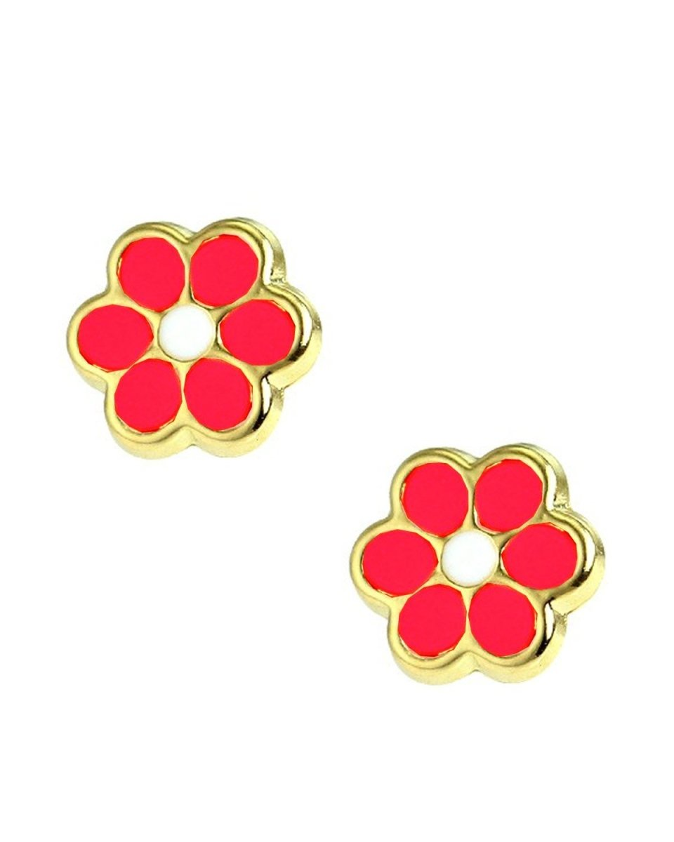 Kids Earrings SK230 Gold K9 with Red Daisy - Goldy Jewelry Store