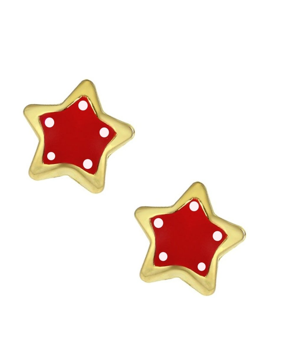 Kids Earrings SK238 Gold K9 with Red Star - Goldy Jewelry Store