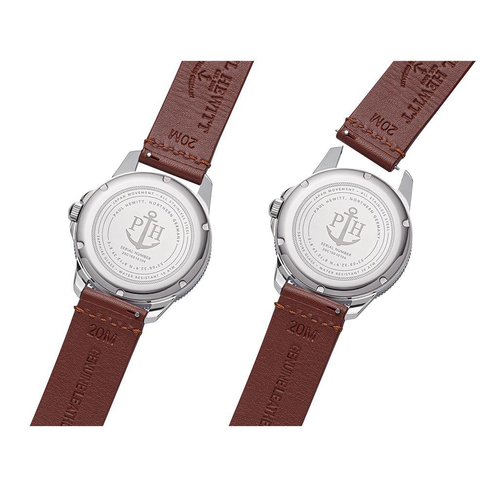 PAUL HEWITT PH002830 Brown Leather Strap Tide Runner Gift Set - Jewelry Goldy