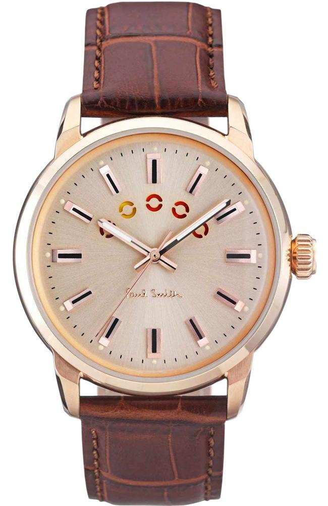 Paul Smith P10023 Block Brown Leather Strap - Goldy Jewelry