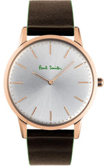 Paul Smith PS0100002 Slim Brown Leather Strap - Goldy Jewelry
