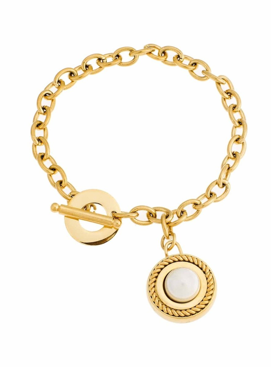 Puppis PUB42905G Gold Plated Bracelet with Rings - Goldy Jewelry Store
