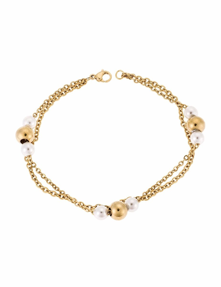 Puppis PUB70271G Gold Plated Bracelet with Pearls - Goldy Jewelry Store