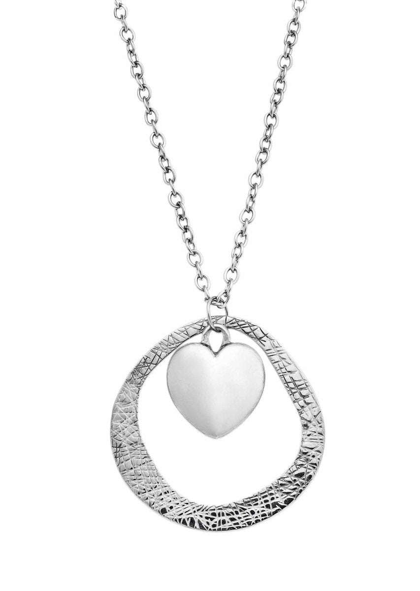 Puppis PUP01058S Stainless Steel Heart Necklace - Goldy Jewelry Store
