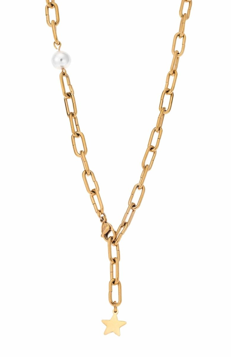 Puppis PUP09490G Gold Plated Necklace with Rings - Goldy Jewelry Store