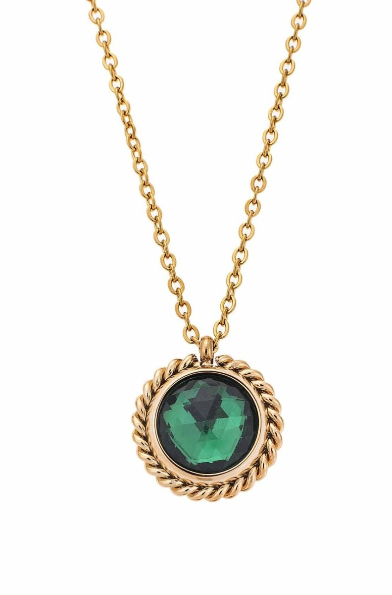 Puppis PUP30579G Gold Plated Steel Necklace with Green Zircon - Goldy Jewelry Store