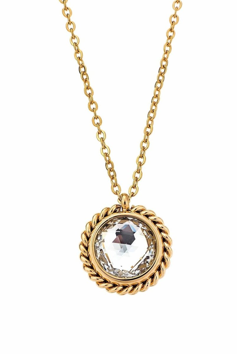 Puppis PUP30580G Gold Plated Necklace with White Zircon - Goldy Jewelry Store
