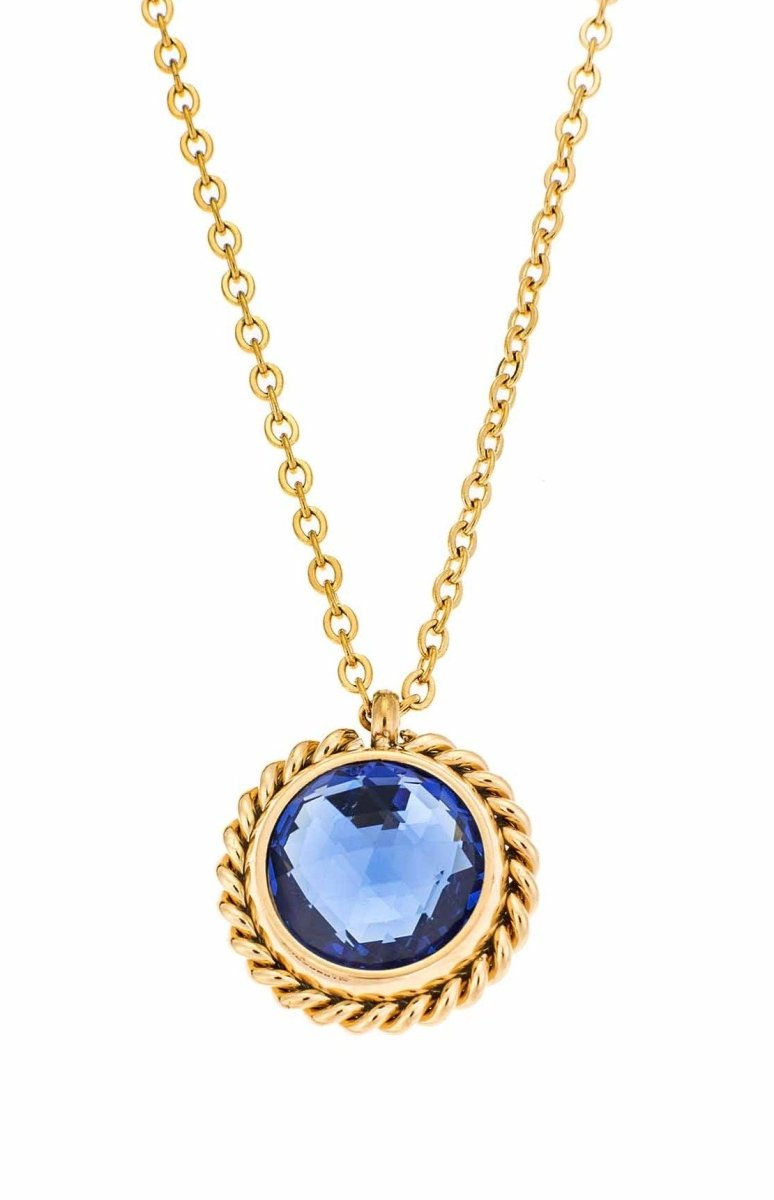 Puppis PUP30581G Gold Plated Necklace with Blue Zircon - Goldy Jewelry Store