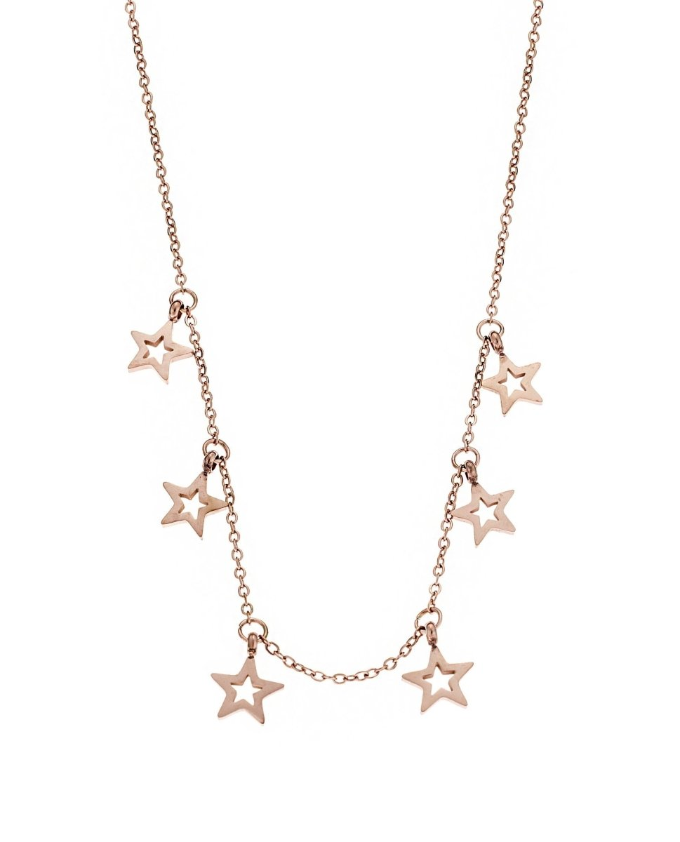 Puppis PUP34837R Stars Necklace Made of Rose Gold Plated Steel - Goldy Jewelry Store