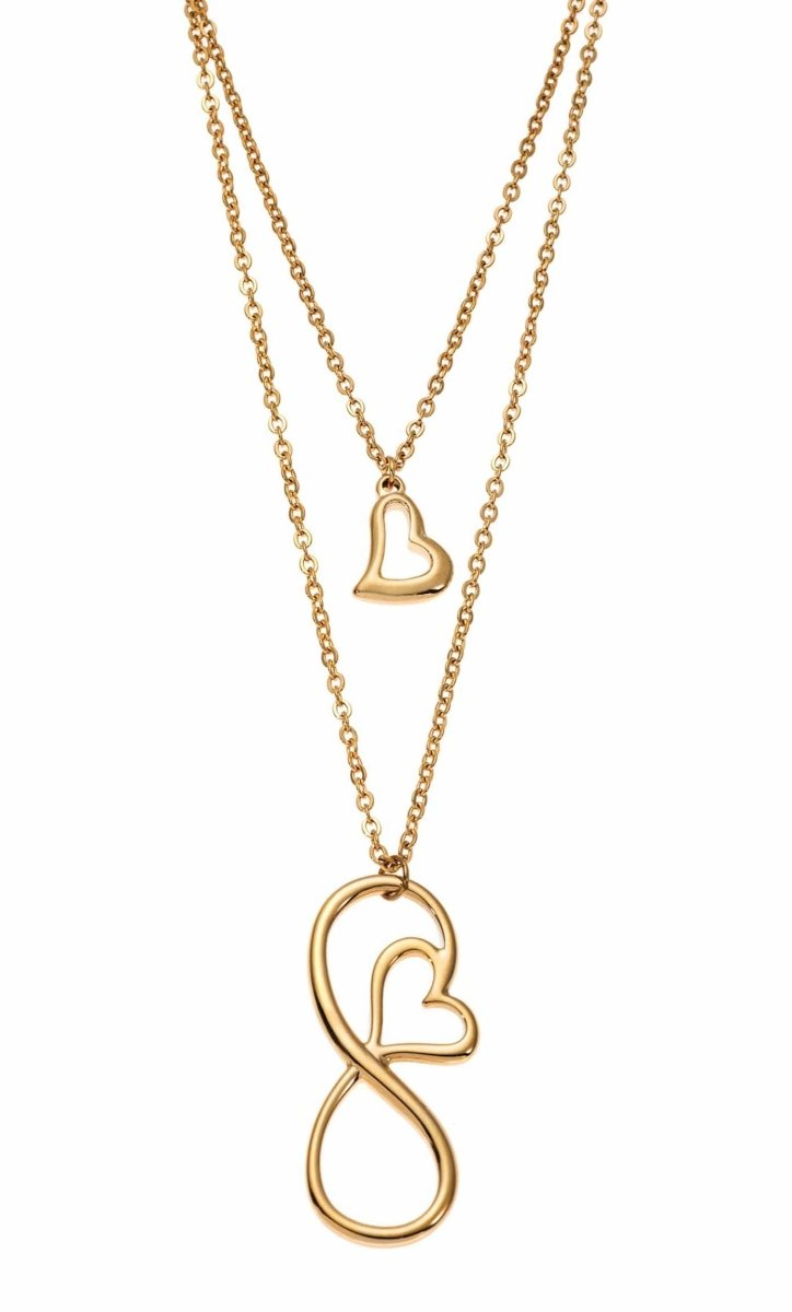 Puppis PUP38672G Double Gilded Steel Necklace with Infinity - Goldy Jewelry Store