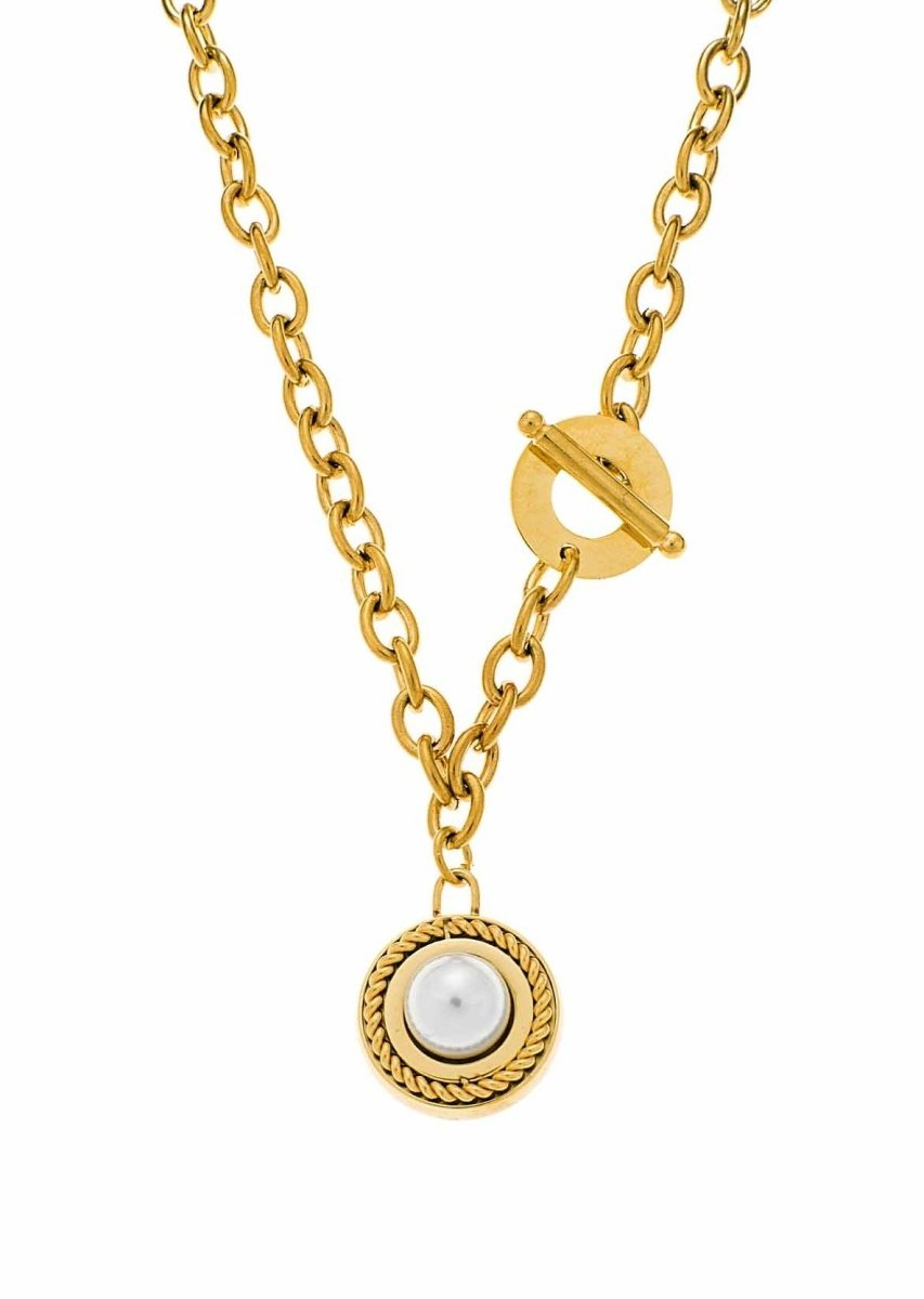 Puppis PUP42905G Gold Plated Necklace with Pearl - Goldy Jewelry Store