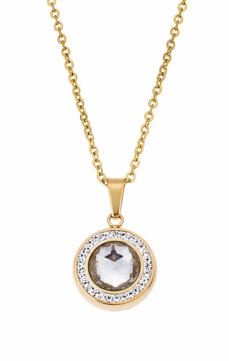 Puppis PUP56301G Gold Plated Necklace with White Zircon - Goldy Jewelry Store