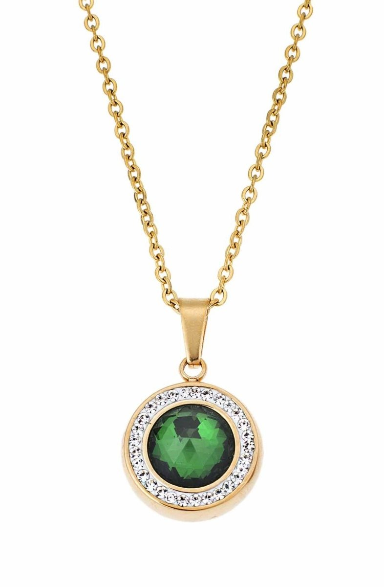 Puppis PUP56305G Gold Plated Steel Necklace with Green Zircon - Goldy Jewelry Store