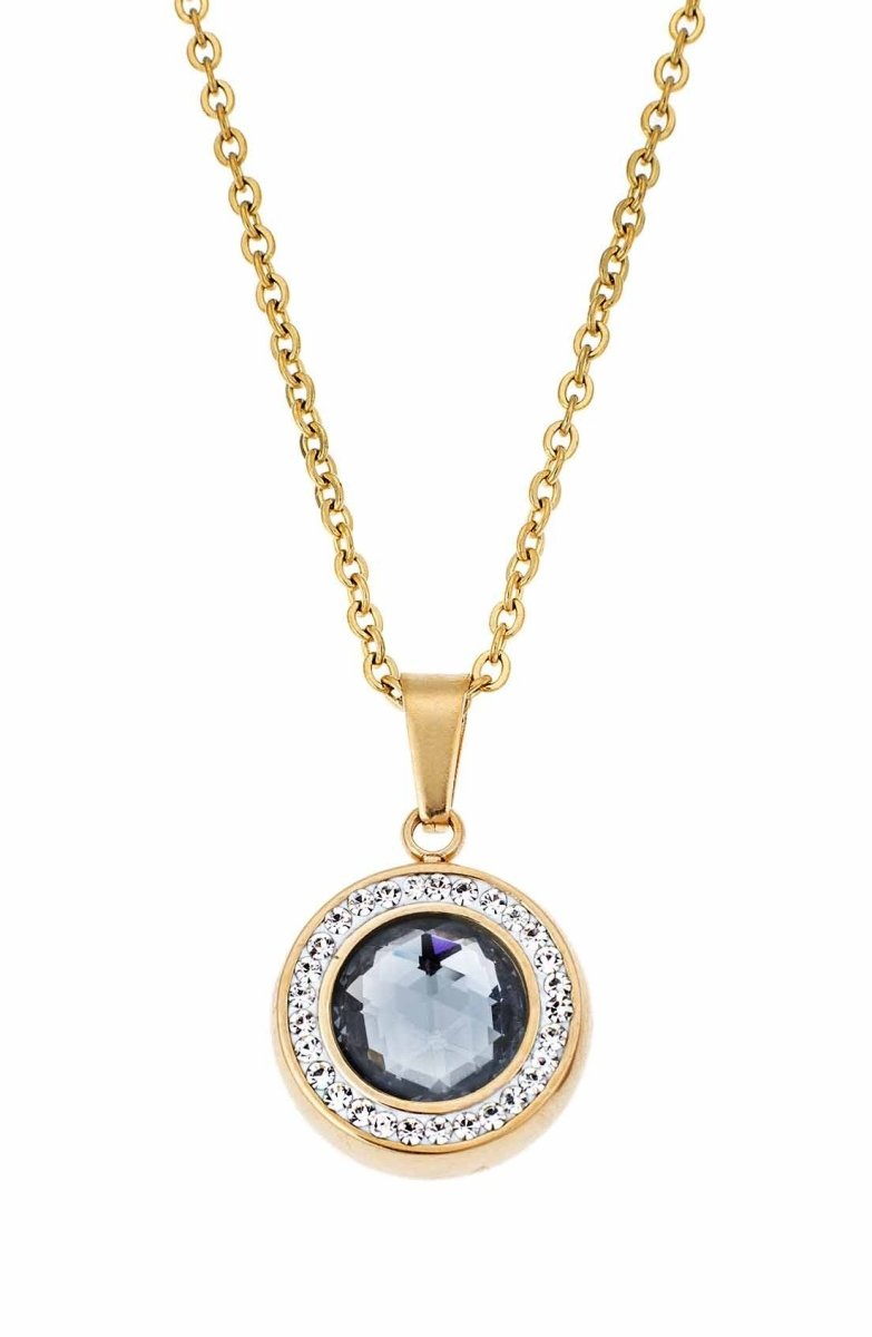 Puppis PUP56307G Gold Plated Necklace with Blue Zircon - Goldy Jewelry Store