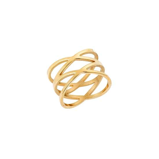 Puppis PUR37226G Broad Ring with Gold Plating - Goldy Jewelry Store
