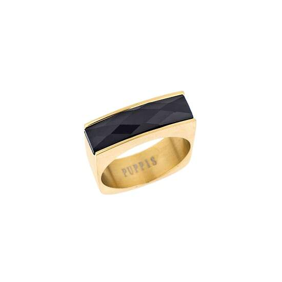 Puppis PUR38115G Gold Plated Steel Ring with Black Zircon - Goldy Jewelry Store