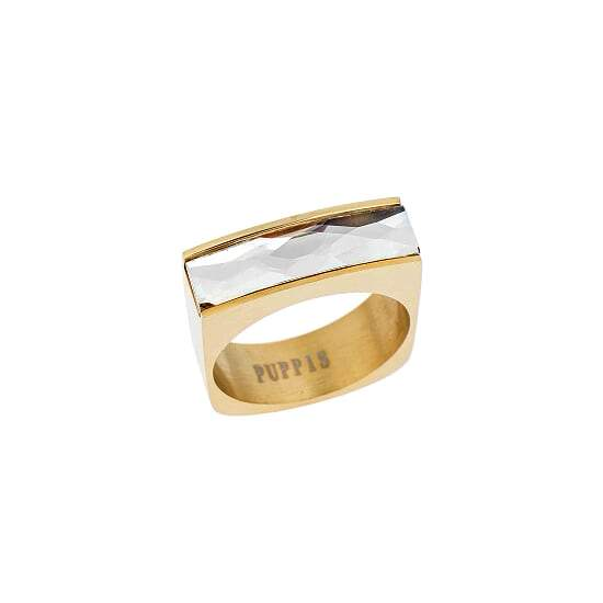 Puppis PUR38119G Gold Plated Steel Ring with White Zircon - Goldy Jewelry Store