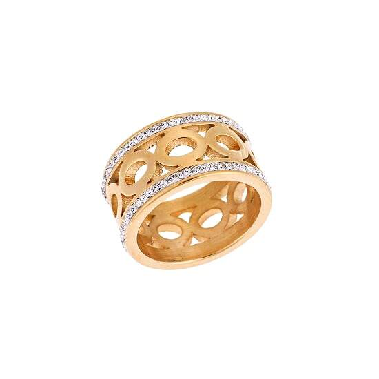 Puppis PUR43327G Broad Ring With Gold Plating and Zircon - Goldy Jewelry Store