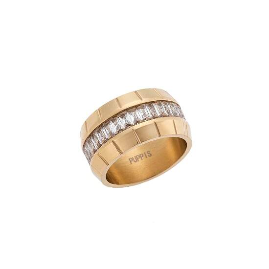 Puppis PUR50334G Broad Ring with Gold Plating - Goldy Jewelry Store