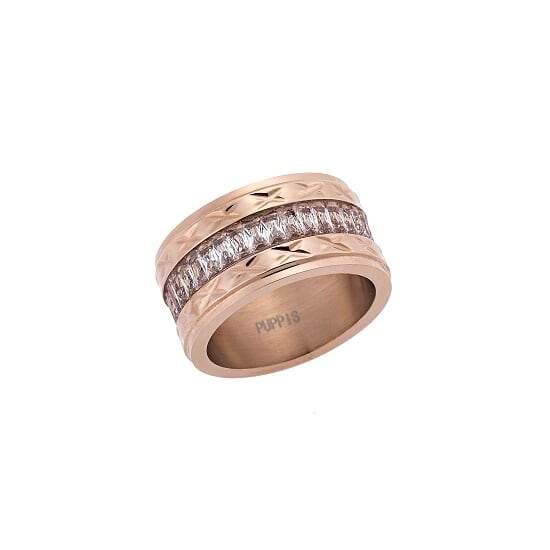Puppis PUR51513R Wide Ring Made of Rose Gold Plated Steel - Goldy Jewelry Store