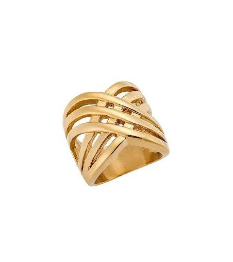 Puppis PUR53472G Broad Ring with Gold Plating - Goldy Jewelry Store