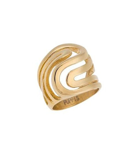 Puppis PUR81573G Gold Plated Ring - Goldy Jewelry Store