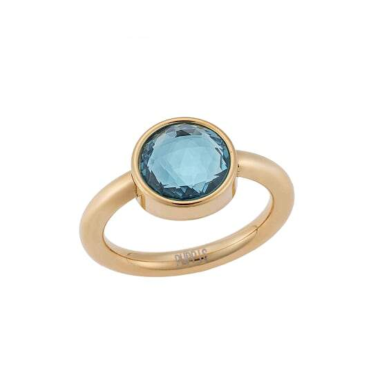 Puppis PUR82303G Gold Plated Steel Ring with Blue Zircon - Goldy Jewelry Store