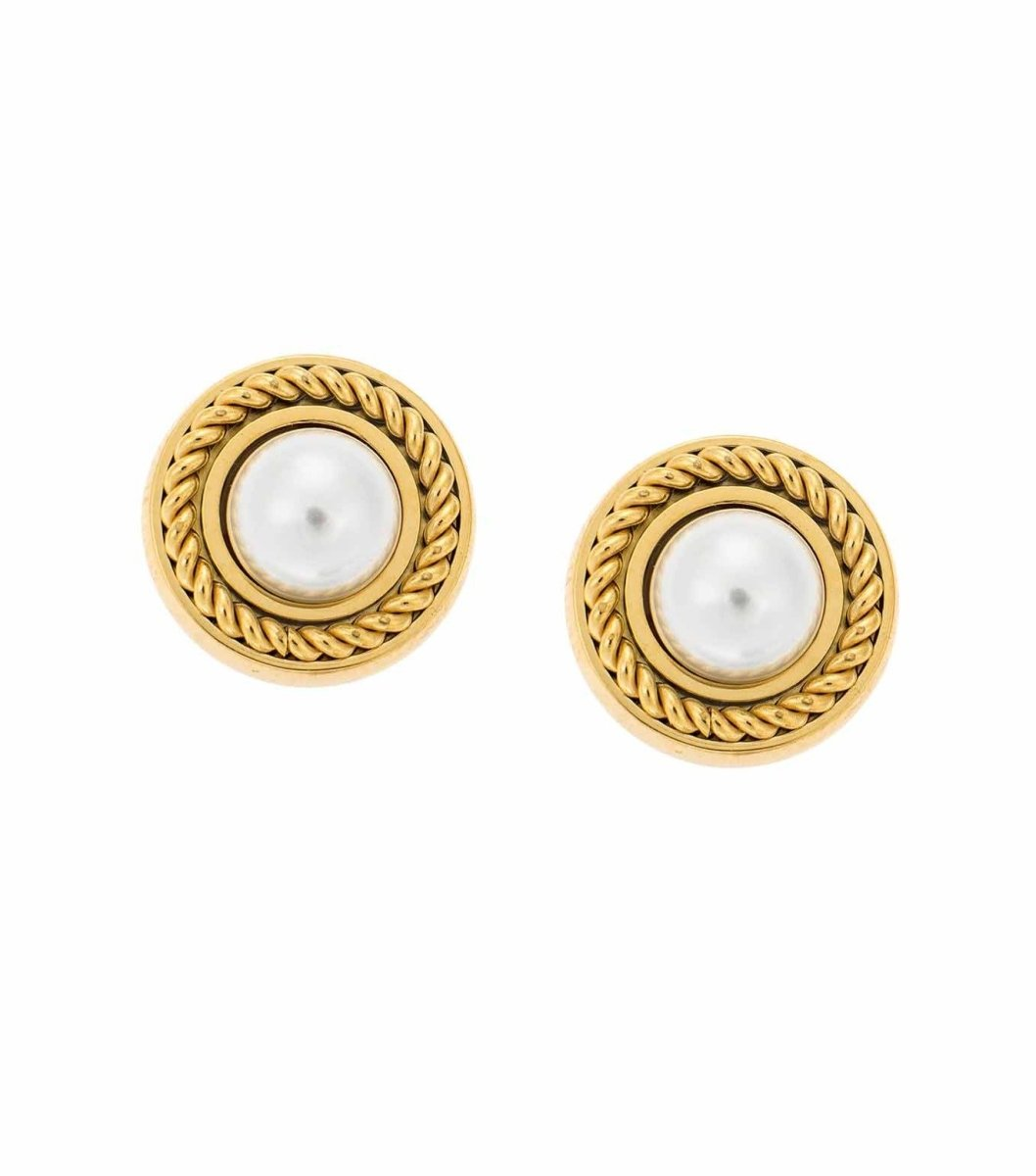 Puppis PUW42905G Gold Plated Steel Earrings with Pearls - Goldy Jewelry Store