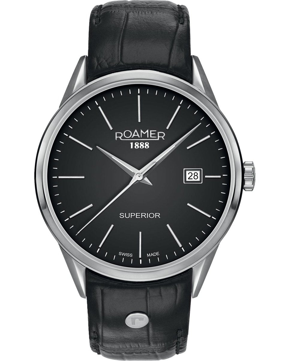 ROAMER R508833415505 Superior 3H Black Leather Strap - Κοσμηματοπωλείο Goldy