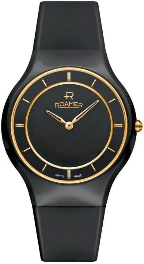 ROAMER R684830485506 Ceraline Passion Gold Black Rubber Strap - Jewelry Goldy