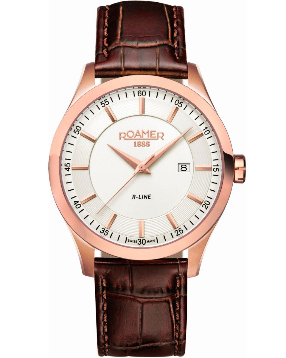ROAMER R943856492509 R-Line Brown Leather Strap - Κοσμηματοπωλείο Goldy