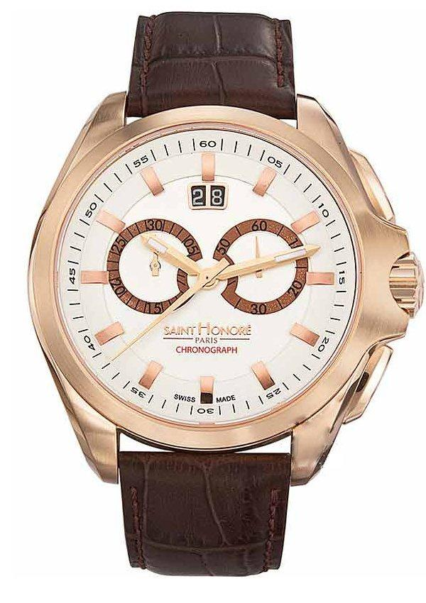 Saint Honore 8850658AIAR Coloseo Chronograph Brown Leather Strap - Κοσμηματοπωλείο Goldy