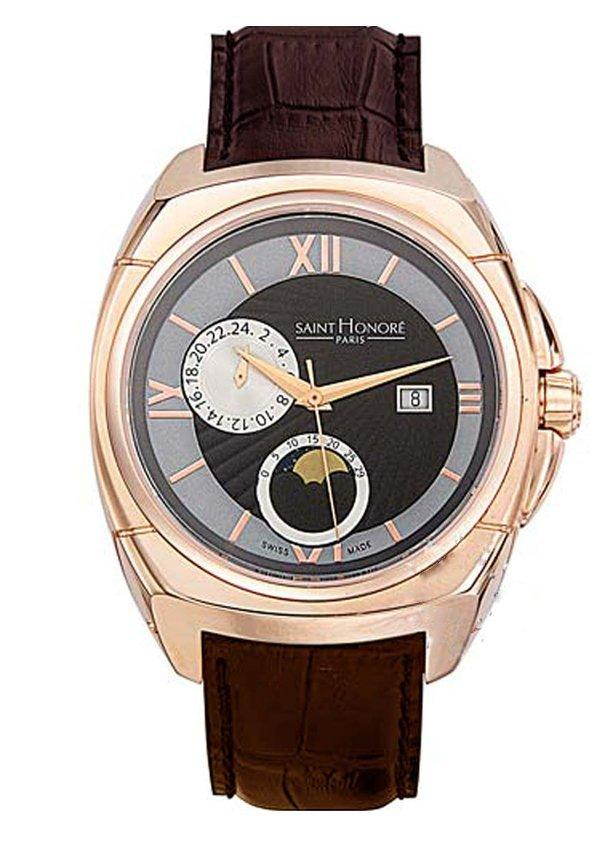 Saint Honore 8880608ANRR Haussman Rose Gold Brown Leather Strap - Κοσμηματοπωλείο Goldy