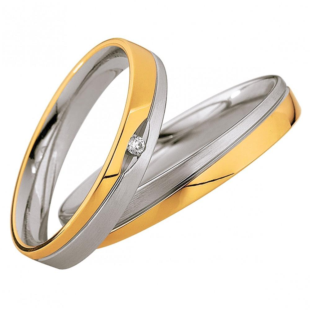 Saint Maurice Light Collection 87002-87003 Bicolor Wedding Rings - Goldy Jewelry