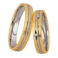 Saint Maurice Light Collection 87004-87005 Bicolor Wedding Rings - Goldy Jewelry