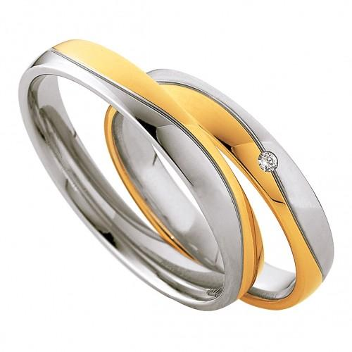 Saint Maurice Light Collection 87010-87011 Bicolor Wedding Rings - Goldy Jewelry