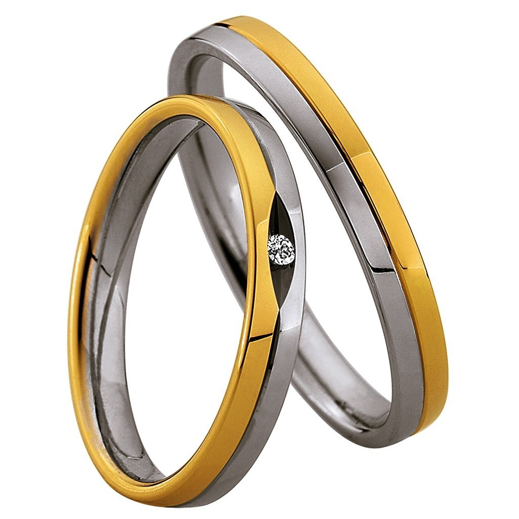 Saint Maurice Light Collection 87016-87017 Bicolor Wedding Rings - Goldy Jewelry